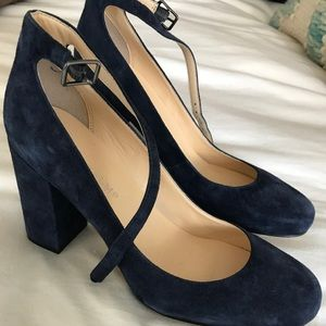Ivanka Trump Navy Ankle Strap Pumps